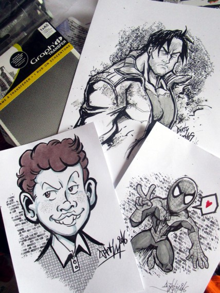 Illustrations réalisées aux trames tranfer par Djiguito