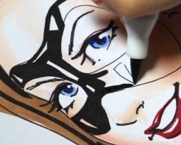 Zoom sur la pointe pinceau du marqueur - Dessin de Virginie Siveton