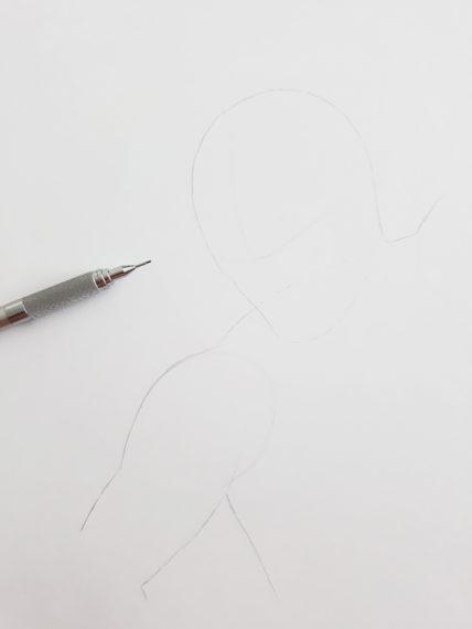 etape 1 crayonné spiderman