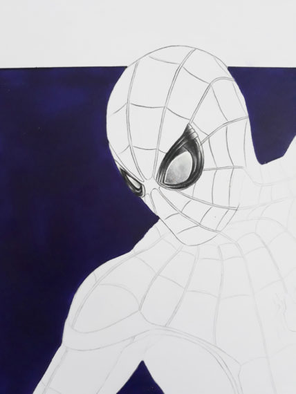 dessiner casque spiderman