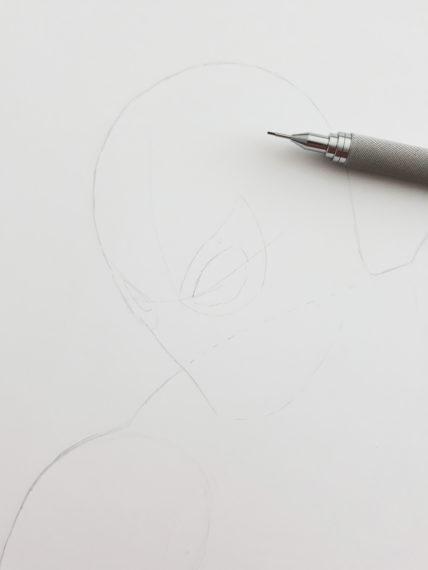 etape 2 crayonné spiderman