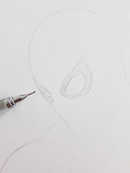 etape 4 crayonné spiderman