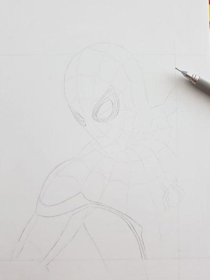 etape 5 crayonné spiderman