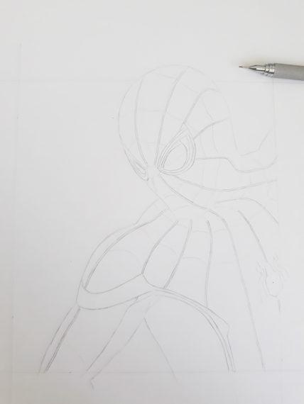 etape 6 crayonné spiderman