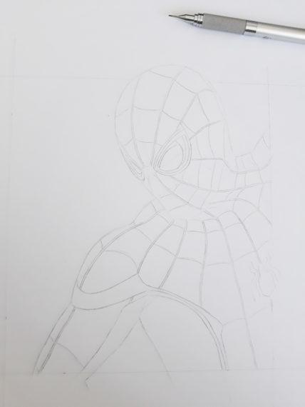 etape 7 crayonné spiderman